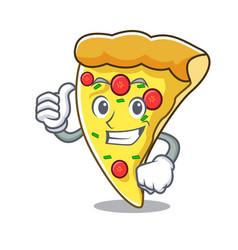 thumbs up pizza slice character cartoon vector image