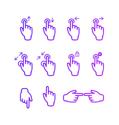 touch screen hand gestures icons set for mobile ap vector image