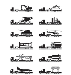 Trucks with over-sized loads vector image