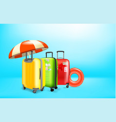 Vacation concept with color plastic suitcases vector