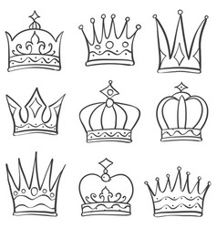 various crown sketch doodle set vector image