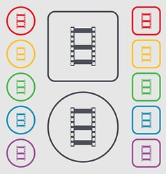 Video sign icon frame symbol Symbols on the Round vector