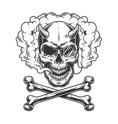 Vintage monochrome demon skull with pince-nez vector