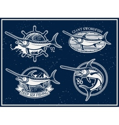 Vintage swordfish sea fishing emblems vector