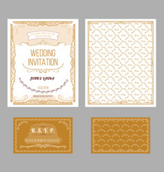 vintage wedding invitation cards set vector image