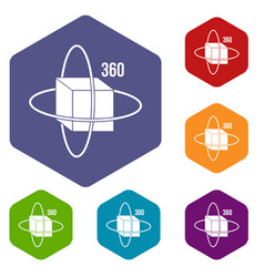 virtual cube icons set hexagon vector image