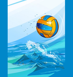 Water polo ball in a swimming pool vector