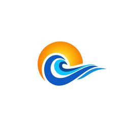 wave ocean sunset logo water waves sunrise icon vector image