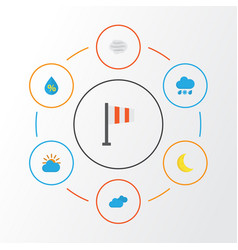 Weather flat icons set collection of overcast vector