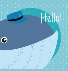 Whale cute animal cartoon vector