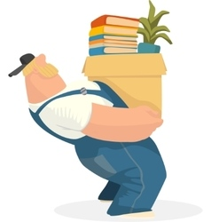 Working man carries a box of books and potted vector