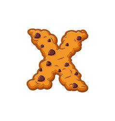 X letter cookies cookie font oatmeal biscuit vector