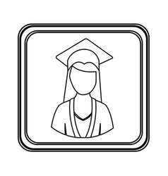 figure emblem woman graduation icon vector image vector image