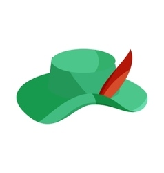 Green hat with feather icon cartoon style vector image