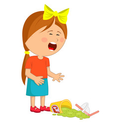 little girl has dropped her fast food beverage vector image vector image