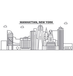 manhattan new york architecture line skyline vector image vector image