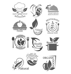organic food and vegetarian nutrition icon set vector image