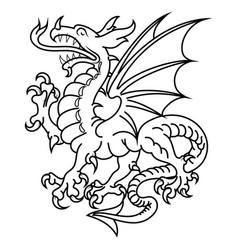 winged heraldic dragon vector image