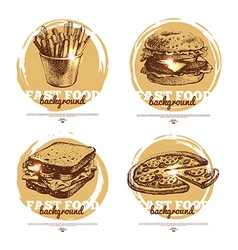 Banners of fast food sketch design vector image