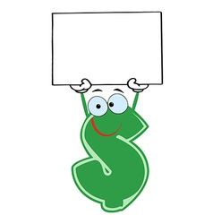 Dollar Cartoon Character Holding A Blank vector image
