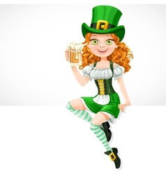 girl leprechaun sitting on the banner white and vector image vector image