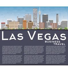 Las Vegas Skyline with Gray Buildings Blue Sky vector image