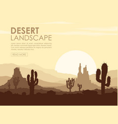 sunset in stone desert with cactuses vector image