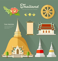 Thai Pagoda with temple wheel of life of thailand vector image vector image
