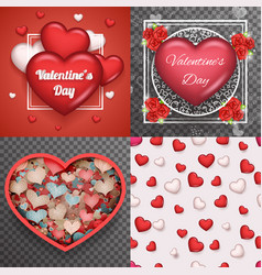 valentine day heart realistic 3d symbol vector image