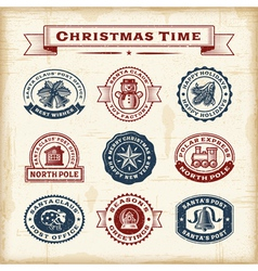 Vintage Christmas stamps set vector image vector image