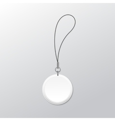 Blank round keychain with ring and string for key vector