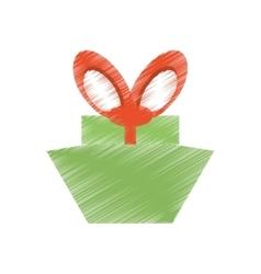 drawing green gift box red big bow vector image
