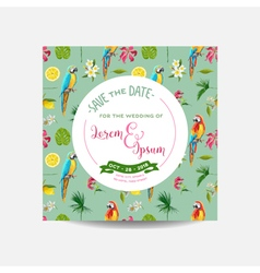 Flowers and Parrot Birds Background Wedding Card vector image vector image