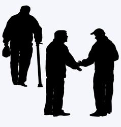 Silhouette of old people vector image vector image