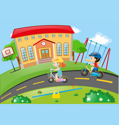 boy and girl cycling on road vector image vector image