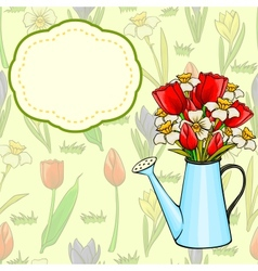 cartoon watering can with bunch of spring flowers vector image vector image