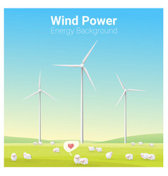 energy concept background with wind turbine vector image vector image