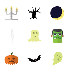 flat icon halloween set of candlestick monster vector image