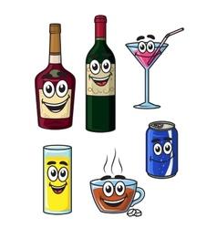 Happy cartoon beverage characters vector image vector image