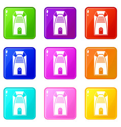 Modern electric home heater icons 9 set vector