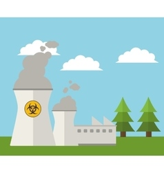 Nuclear plant energy power landscape vector