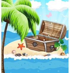 Treasure Chest on sandy island vector image