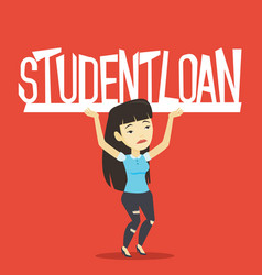 Young woman holding sign of student loan vector