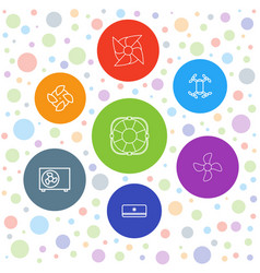 7 cooler icons vector