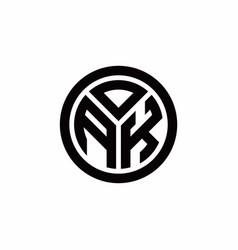 Ak monogram logo with circle outline design vector