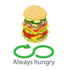 always hungry icon isometric style vector image