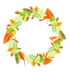 Autumn foliage bouquet wreath vector