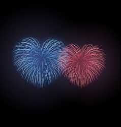 Beautiful heart-fireworks set bright romantic vector