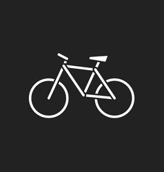 bike icon on black background bicycle in flat vector image