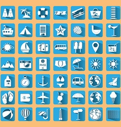 Blue summer holiday icon set vector